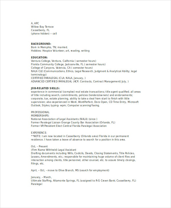 Real Estate Paralegal Resume  Corporate Paralegal Resume