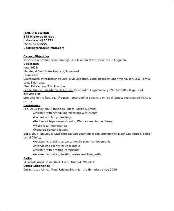 Paralegal Resume Template  Free Word Pdf Documents Download