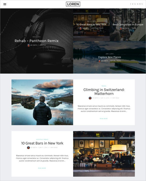 loren responsive wordpress blog theme