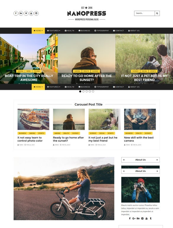 nanopress wordpress responsive blog magazine theme