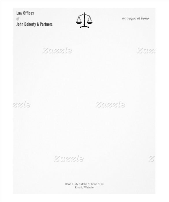 20 law firm letterhead templates free sample example for Law office letterhead template free