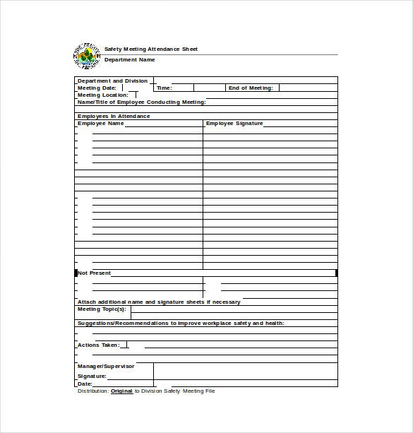 safety meeting attendance sheet word template free download