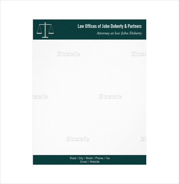 sample classy law firm office letterhead format template download