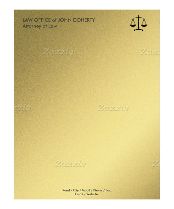 High Quality Example Law Firm Letterhead Format Letterhead