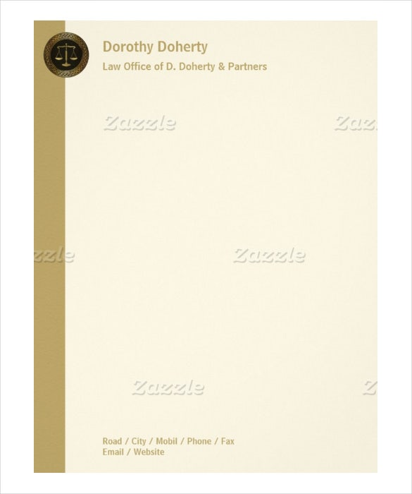 golden scales of justice example letterhead law firm letterhead