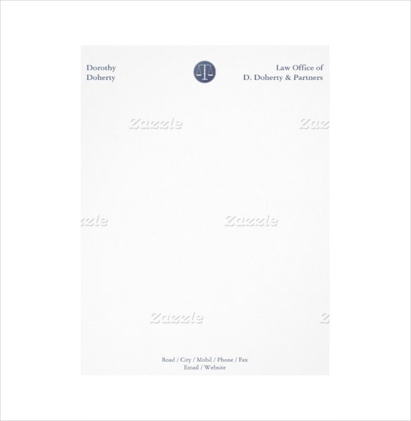 scales of justice law firm office example letterhead