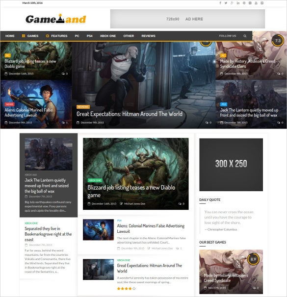 newsgamer wordpress gaming blog template