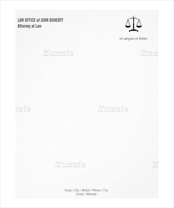 sample example law office firm letterhead