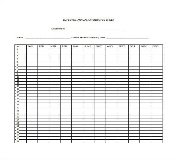 10 Attendance Sheet Templates Free Word Excel PDF Documents – Employee Attendance Record Template