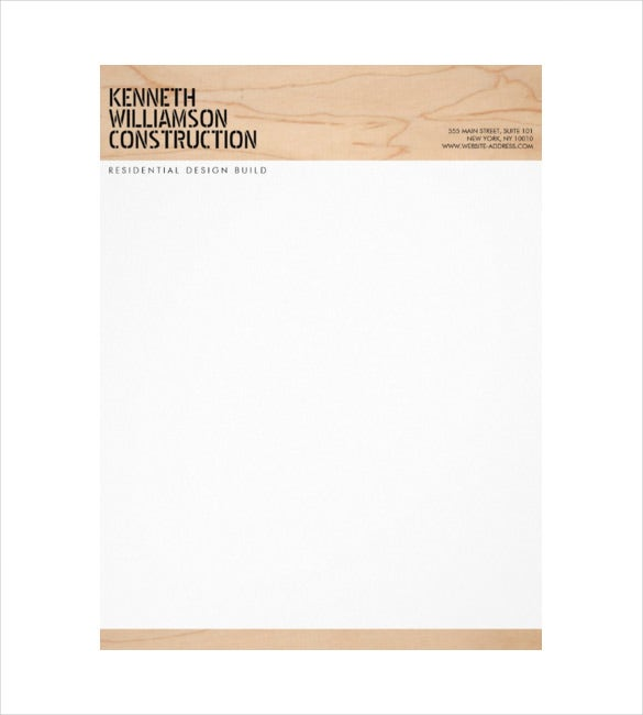 bold stenciled wood example construction company letterhead