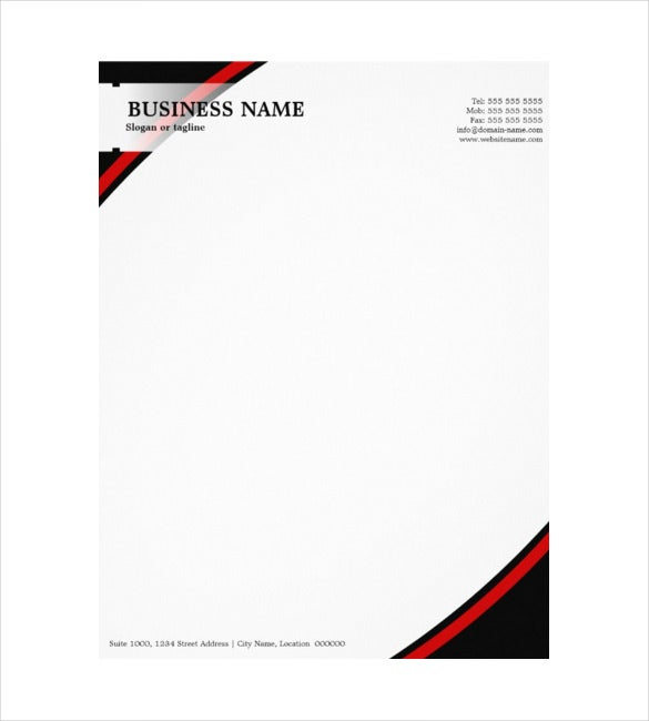 construction company example professional business black red letterhead