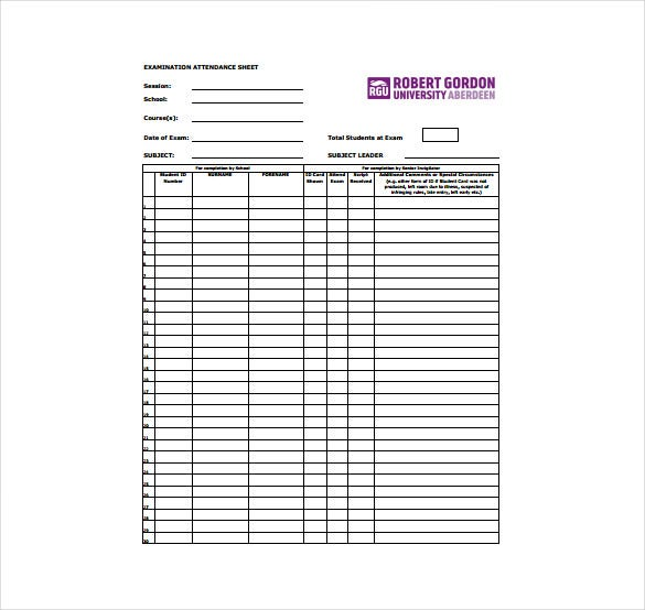 examination attendance sheet free pdf template download