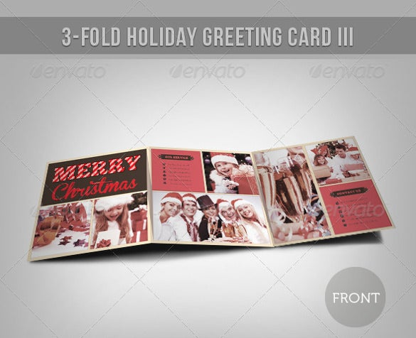 3 Fold Holiday Greeting Card Template