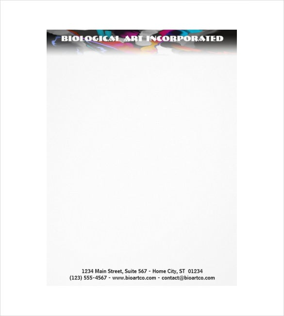 example customizable letterhead biological art top