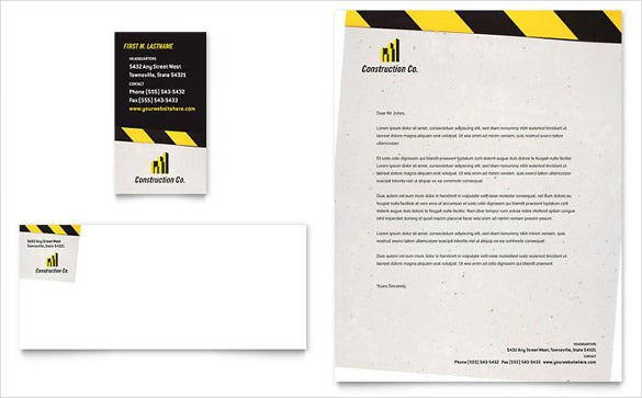 sample example industrial commercial construction business card letterhead template