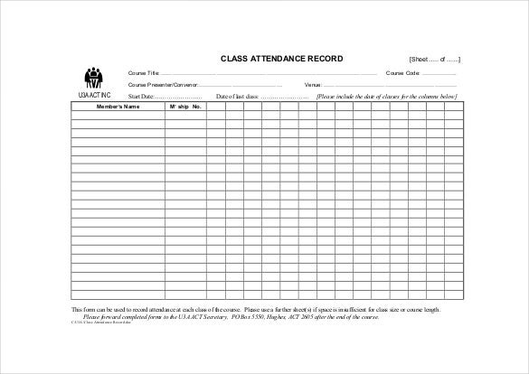 10 Attendance Sheet Templates Free Word Excel PDF Documents – Daily Attendance Sheet Template