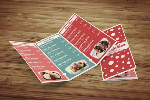 sweet shop and ice cream trifold psd menu download