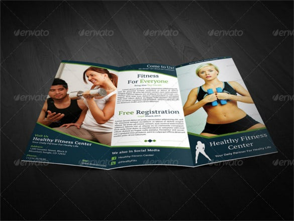 healthy fitness trifold brochure template psd format
