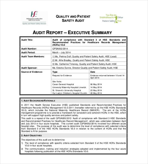 Sample Audit Summary Report Template  Executive Summary Of A Report Example