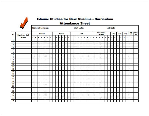 Student Attendance Sheet Pdf – Free Printable Attendance Sheets