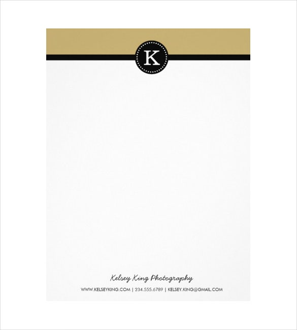 black and gold modern custom monogram letterhead example download