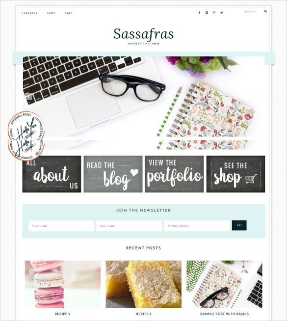 sassafras genesis wordpress blog theme