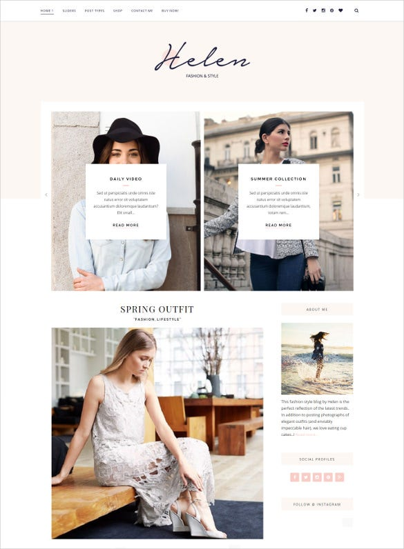 helen responsive wordpress blog theme