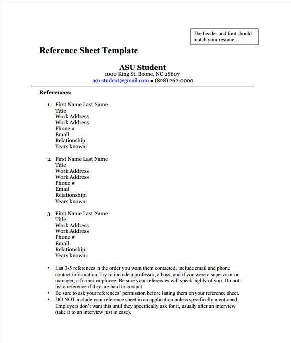 Reference Sheet Template - 5 Free Word, Pdf Documents Download