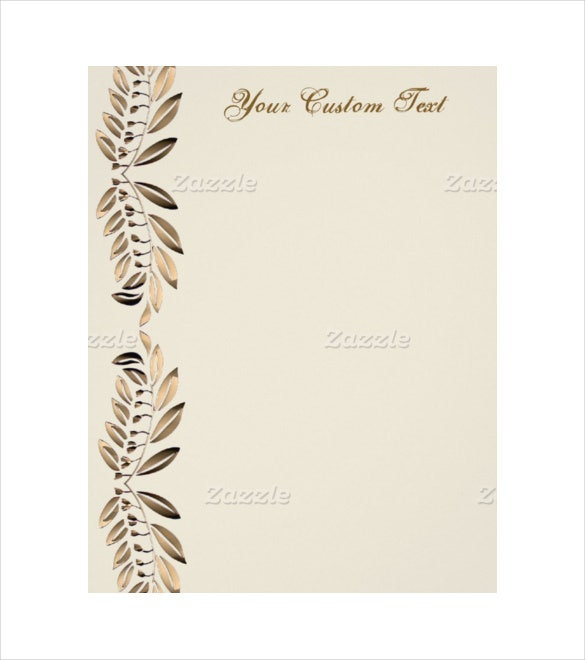 elegant gold leaves on vines border custom paper letterhead example