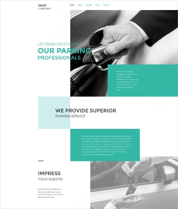 valet company html5 website template