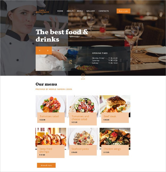 cafe restaurant responsive website blog template