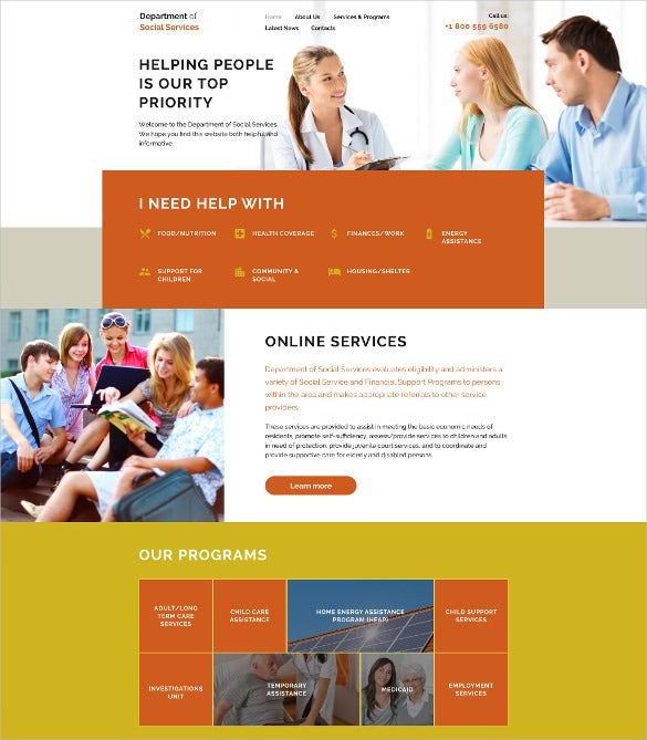 department of social services html5 website template