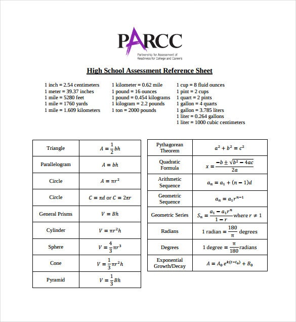 high school assessment reference sheet pdf free download