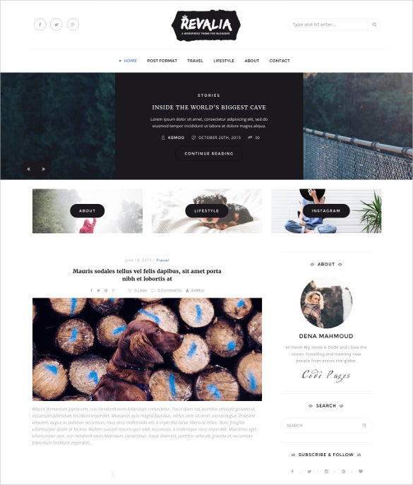 revalia responsive html5 template for bloggers