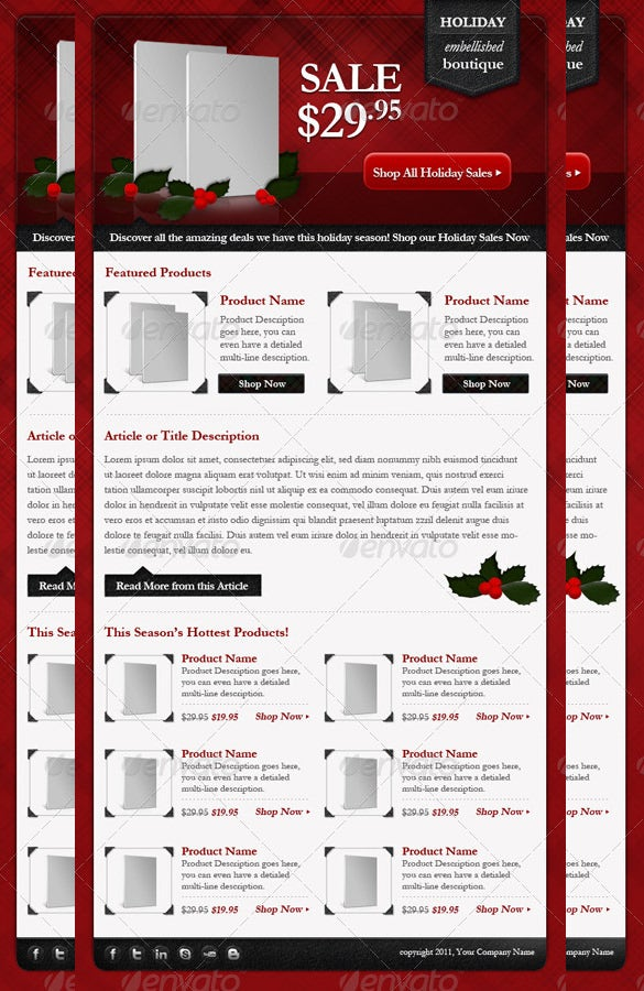 email newsletter light holiday template