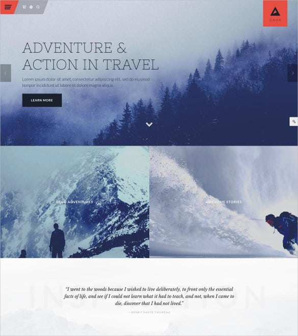 gnar action adventure travel wordpress html5 theme