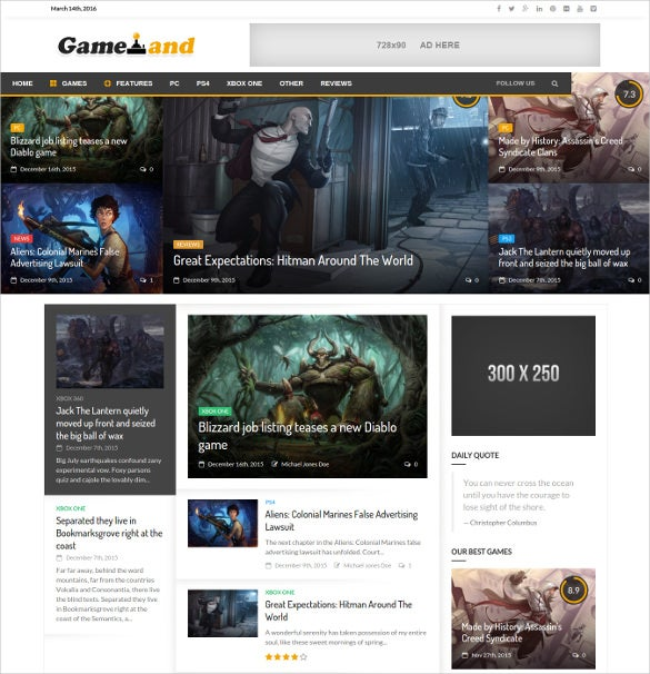 newsgamer wordpress news html5 theme