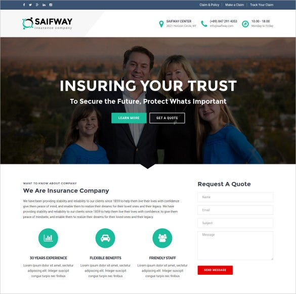 saifway insurance agency html5 template