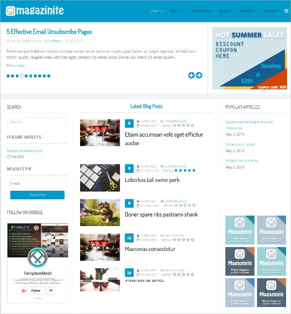 ps magazinite blog joomla html5 template