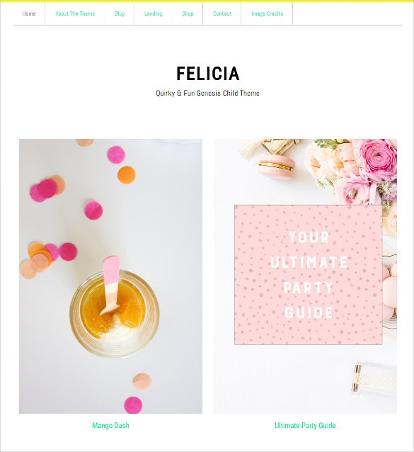 felicia genesis child wordpress html5 theme