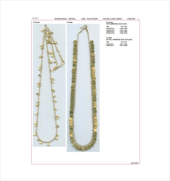 Jewelry Linesheet Sample PDF Template Free Download