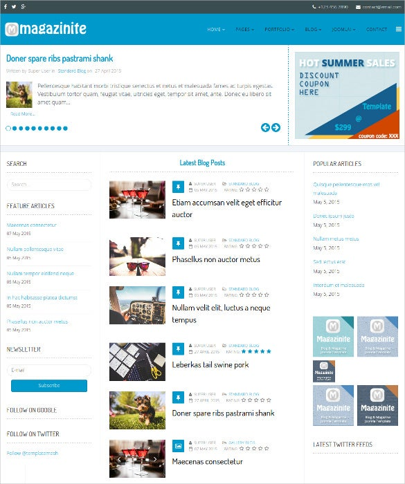 ps magazinite blog joomla template