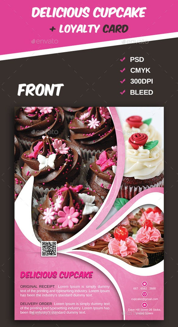 attractive cake psd template design