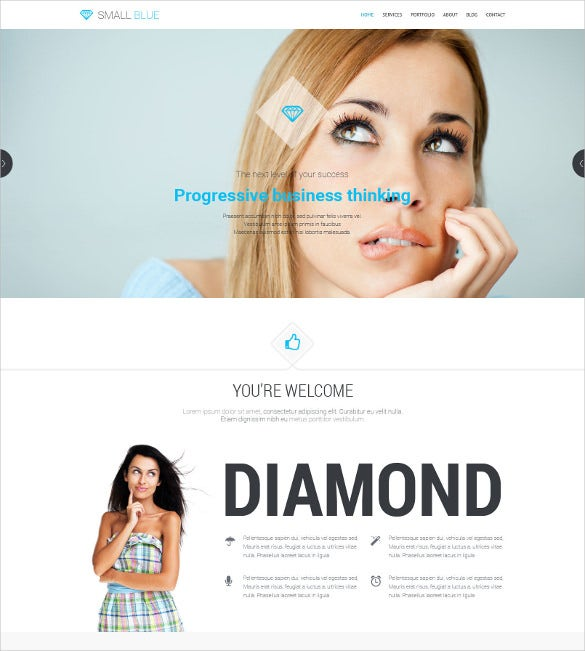 small blue one page and multipurpose wordpress theme