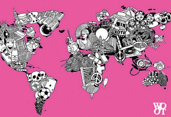 world map illustration in pink color