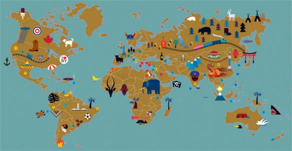 world map for afisha mir magazine