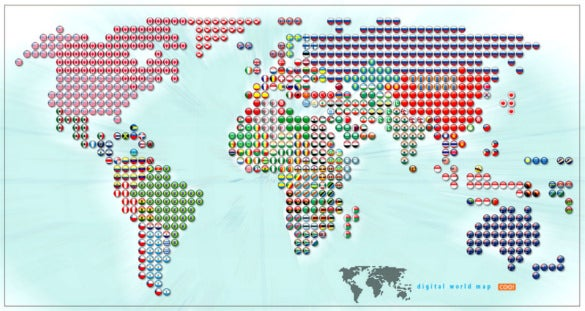 world flags inside candies world map