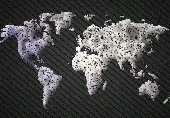 25 coolest and creative world map designs for all art lovers free musical world map download gumiabroncs Images