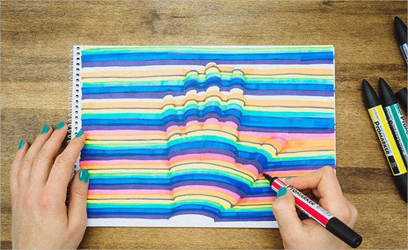 cool 3d optical illusion of hand template