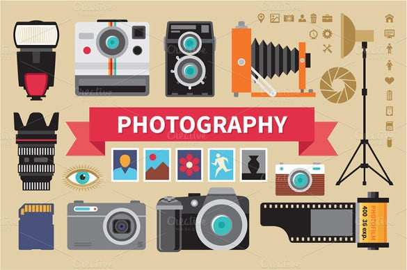 photography vector icons set